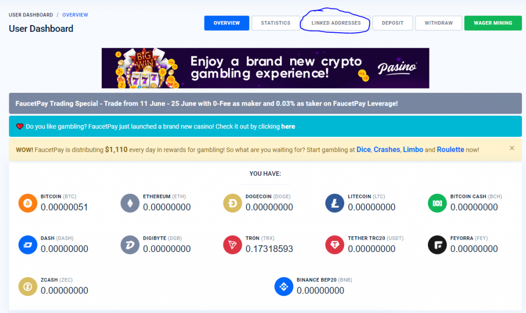 Linked addresses Faucet Pay